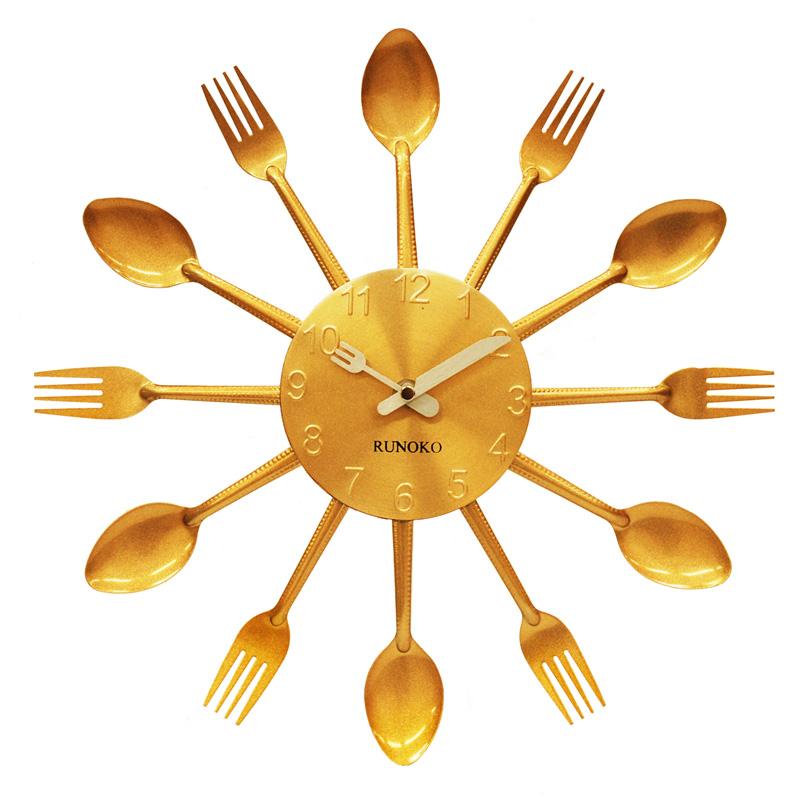 настенные часы на кухню Ложки-вилки золотые оптом Донецк