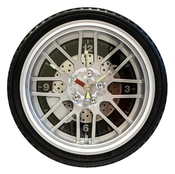 годинник-колесо великий чорний з підсвіткою з гумою